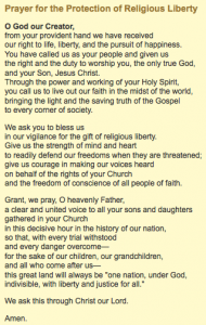 Fortnight for Freedom-Prayer