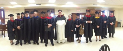 In order from left to right: Prof. Judith Babarsky, Fr. Luis Luna, MSA, Prof. Heather Voccola, Fr. Michel Legault, MSA, Fr. Dennis Kolinski, SJC, Dr. Sebastian Mahfood, OP, Fr. Dominic Anaeto, Fr. Peter Kucer, MSA, Fr. Brian Mullady, OP, Sr. Mary Anne Linder, FSE, Dr. Ronda Chervin, Dr. Alphonso Pinto, Mrs. Clare Adamo, Fr. William McCarthy, MSA, Fr. Kermit Syren, LC